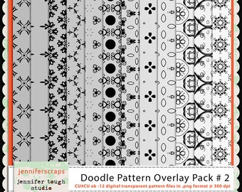 Instant Download - Set of 12 digital paper overlays/templates - Doodle patterns overlay set 2 - CU4CU ok