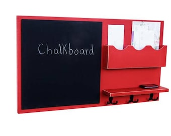 Message Center - Mail Organizer - Chalkboard - Key Hooks - Shelf