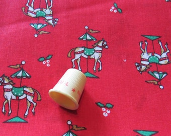 carousel horses christmas novelty print cotton blend vintage fabric -- 44 by the yard