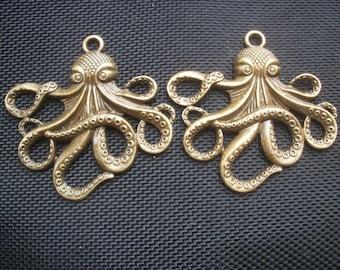 2 Cthulhu Octopus Pendants Antiqued Bronze Tone