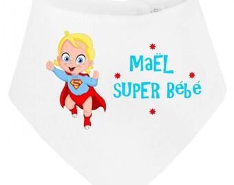 Super baby bandana baby bib personalized with name