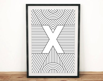 "Typography Print | Letter Print ""X"" 