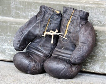 Boxing Gloves - Leather Boxing Gloves - Soviet Boxing Gloves - Vintage Boxing Gloves - Old USSR Boxing Gloves - Sports Decor - Boxing Gift