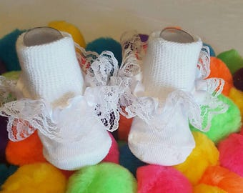 Newborn-6months Baby Girl White Lace Socks for any occasion including Christening