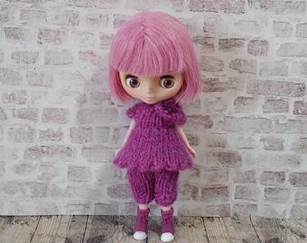 pdf knitting pattern - Petite Blythe Tunic dress and bloomers set.
