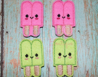 Hot Pink and Lime Popsicle Felties, Popsicle Felties, Wholesale Felties, Felt Appliques, Summer Felties, Felt Embellishments, Set of 4