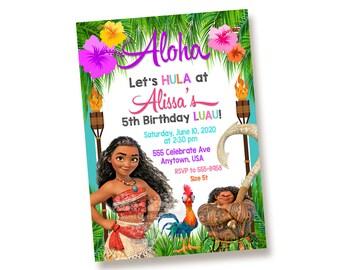 10 - PRINTED Moana Luau Pool Swimming Birthday Party Printable Personalized Invitation Shipped