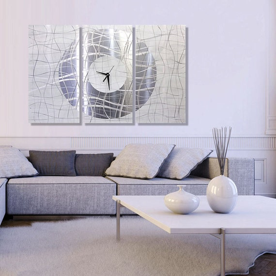 Extra Large Modern Metal Wall Art in Silver 3 Piece Abstract