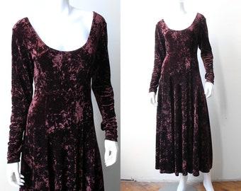 Vintage 90's Goth Blood Red Crushed Velvet Dress