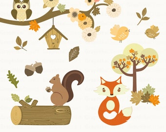 Woodland Animals Clipart. Animals Clipart. Squirrel, Fox, Owls, Birds. Vector Clipart. 15 images, 300 dpi. Eps, Png files. Instant Download.