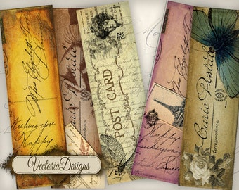 Vintage Post Bookmarks reading printable paper craft art hobby crafting scrapbooking instant download digital collage sheet - VD0264