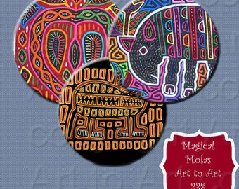 MOLAS magical art of the Kuna people of Panama Digital sheet 238 bottle caps, pendants, jewelry, crafts, scrapping instant download