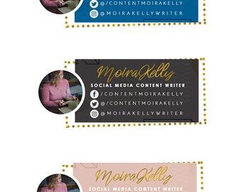 Gold Email Signature Template | Professional Signature | Social Media Branding | Blog Graphics | Blue Gold Design |  Email Signature Design