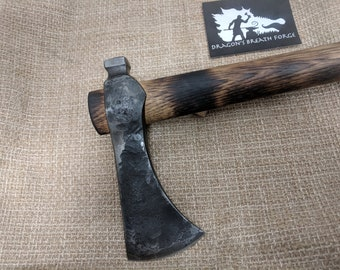 "Poll tomahawk hand forged by Matthew Parkinson JS from 1050 with 19"" hickory handle and a 2 3/4"" cutting edge"