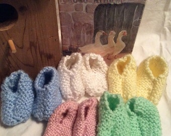 Hand Knitted Classic Baby Slippers