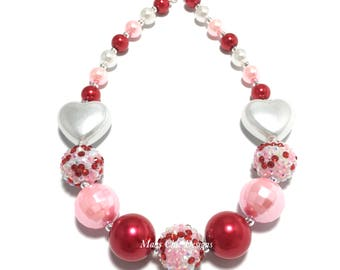 Toddler or Girls Red, Pink and White Heart Chunky Necklace - Confetti Chunky Necklace - White Heart Necklace - Valentines Day Necklace