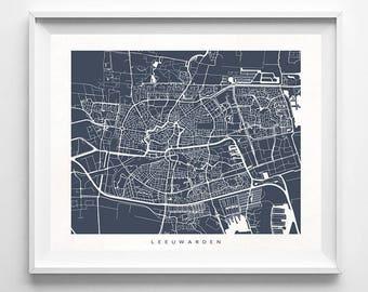 Leeuwarden Map, Netherlands Print, Leeuwarden Poster, Netherlands Art, Wall Decor, Office Wall Decor, Office Wall Art, Fathers Day Gift