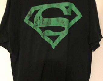 Vintage XL Superman T-Shirt Black with Green Logo