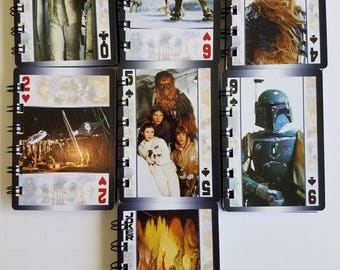 15 Star Wars  Notebooks - Star Wars Birthday Party - Star Wars Party Favors - Star Wars Notepads - Recycled Trading Cards