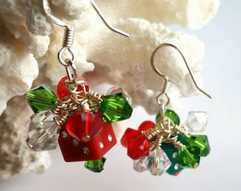 Christmas Dice Earings, Red and Green Swarovski, Christmas Presents, D6 Jewelry, Casino Jewelry, Geek Christmas