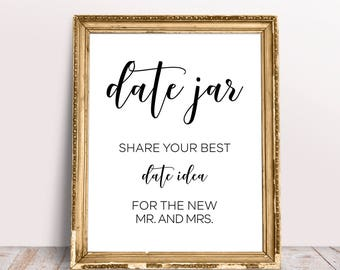 Date Jar Sign, Share Your Best Date Idea, Date Jar Printable Sign, Wedding Signs, Reception Signs, Wedding Signage, Wedding Printables