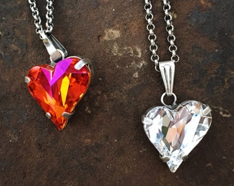 SIMPLY IN LOVE Swarovski crystal heart pendant necklace in antique silver