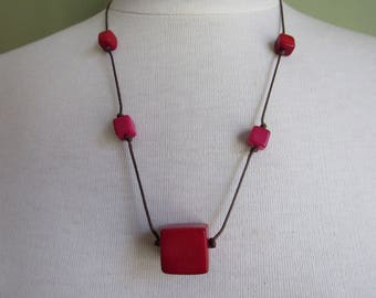 Red Tagua Necklace, Eco friendly Necklace, Tagua nut Necklace, Red Necklace, Tagua Jewelry Tagua nut jewelry