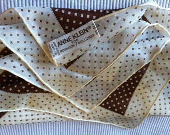 "Vintage 60's ""ANNE KLEIN""  100%  All Silk Scarf  Cross Stitch Pattern -Robinson & Golluber Scarf Designer Signature and Logo"