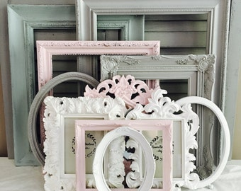 Custom Frames Set; 10 Ornate Large Frames; Pink Grey Nursery Gallery Wall Frames; Ten Shabby Chic Frames; Distressed Frame; Frame Collage;