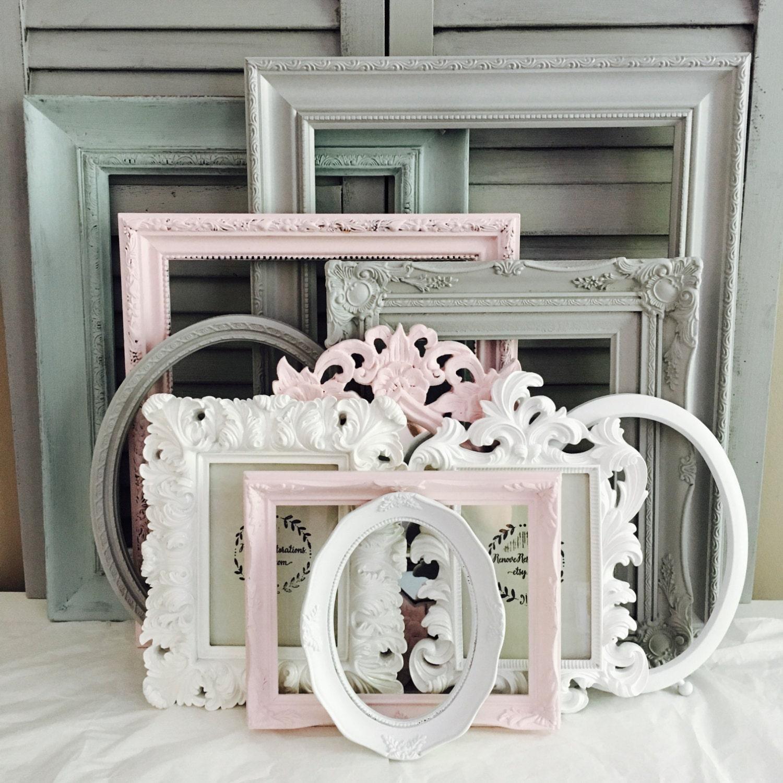 Custom Frames Set; 10 Ornate Large Frames; Pink Grey Nursery Gallery ...