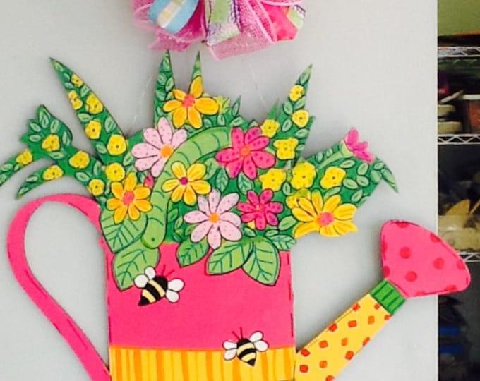 Spring door hanger, spring door sign, watering can door hanger, flower door hanger, spring flower door hanger, spring flower sign, tulips