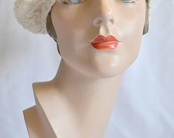 Vintage Hand Knit Ivory Wool Tam O Shanter Beret Cap Hat