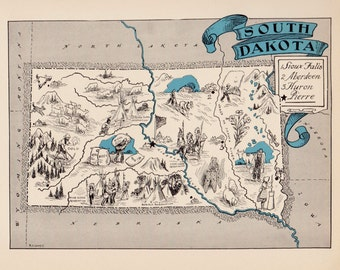 30's Vintage SOUTH DAKOTA Picture Map Pictorial State Cartoon Map Print Travel Map Gallery Wall Art Map Collector Gift for Wedding Birthday