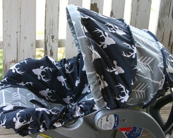 navy blue with white buck marks and gray with white arrows  infant car seat cover and hood cover