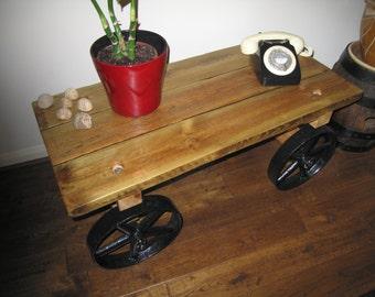 Oak Trolley/truck style table