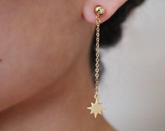 Starburst Dangle 24K Gold Plated Earrings - Gold Earrings - Gemstone Earrings - Drop Earrings - Dangle Earrings