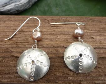 Pink Pearl + Silver Urchin Earrings
