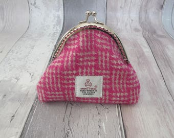 Pink Harris Tweed Coin Purse, Liberty cotton lawn lining, Scottish gift, tartan purse, gift for her, liberty purse, wallet,