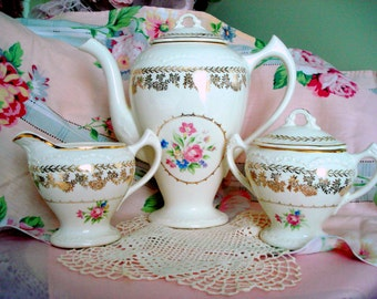Vintage Tea Set Teapot Cream and Sugar Set Rose Floral Shabby Cottage Chic Vintage Coffee Pot Tea Party