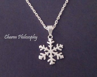 Small Snowflake Necklace - 925 Sterling Silver Jewelry - Winter Jewelry - Christmas Gift