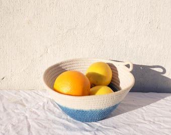Indigo Dyed Cotton Rope Bowl Handmade - High Tide