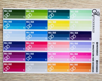 Multi Colour Functional Bill Due Planner Stickers for Erin Condren and Recollection Life Planner