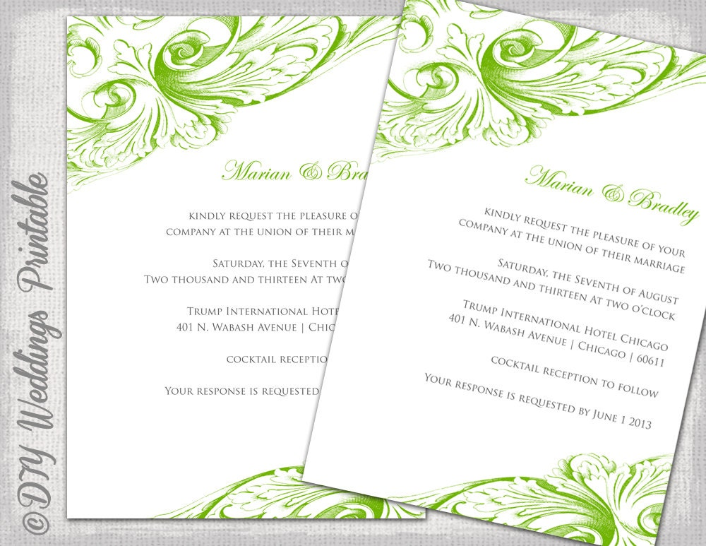Wedding invitation template Green DIY wedding invitations