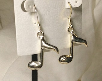 CLEARENCE, Music note earrings,fish hook earring wires, silver metal, standard shipping applies, USA only, #E253