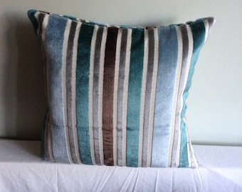 "Teal, blue, grey, beige,brown striped 16"" cushion cover,  pillow, scatter cushion."