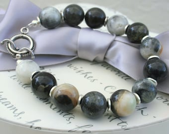 Russian Agate Bracelet 10mm beads with Sterling Silver Toggle
