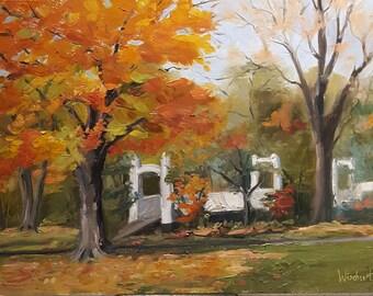 Bucks County, Oil Painting, autumn painting, twin bridges, Roebling, Perkasie, PA, wall art, fine art painting, Pennridge, kissing bridge
