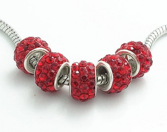 Red Rhinestone Encrusted European Beads - 10 beads