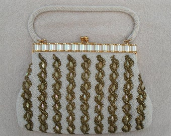 Vintage Gold and White Glass Beaded Purse - Beaded Evening Bag  - Handbag - Made in Hong Kong
