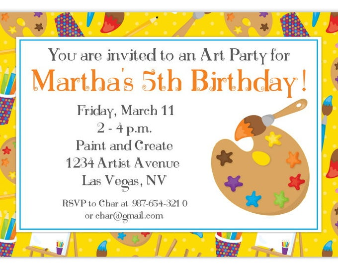 Artist Party Birthday Invitation, Art Birthday Invitation, Painting Birthday Invite, Digital Design - CUSTOM for You, 4x6 or 5x7 size